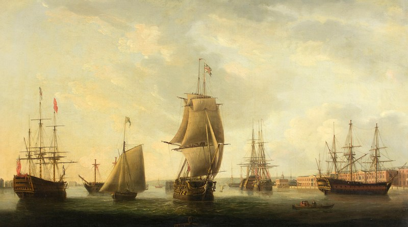 Antique painting of Portsmouth harbour