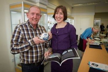 Antiques dealer Rod Jellicoe and Woolley and Wallis specialist Clare Durham with the John Bartlam teapot
