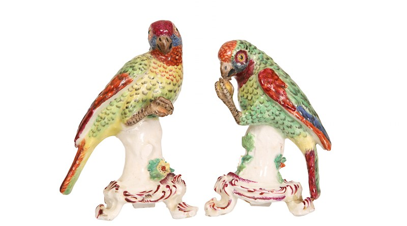 Porcelain parrots from the Bow factory