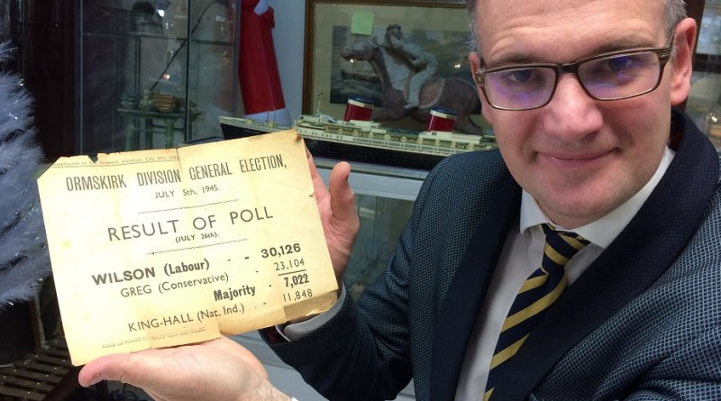 Charles Hanson with Harold Wilson 1945 election result
