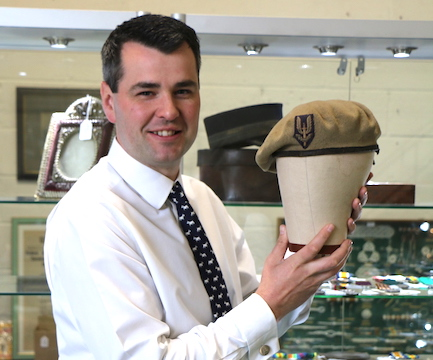 Oliver Bishop and the SAS beret which sold in a Suffolk auction