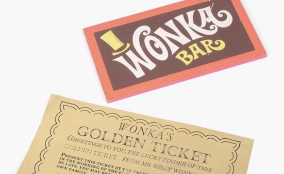 Willy Wonka golden ticket from Charlie and the Chocolate Factory