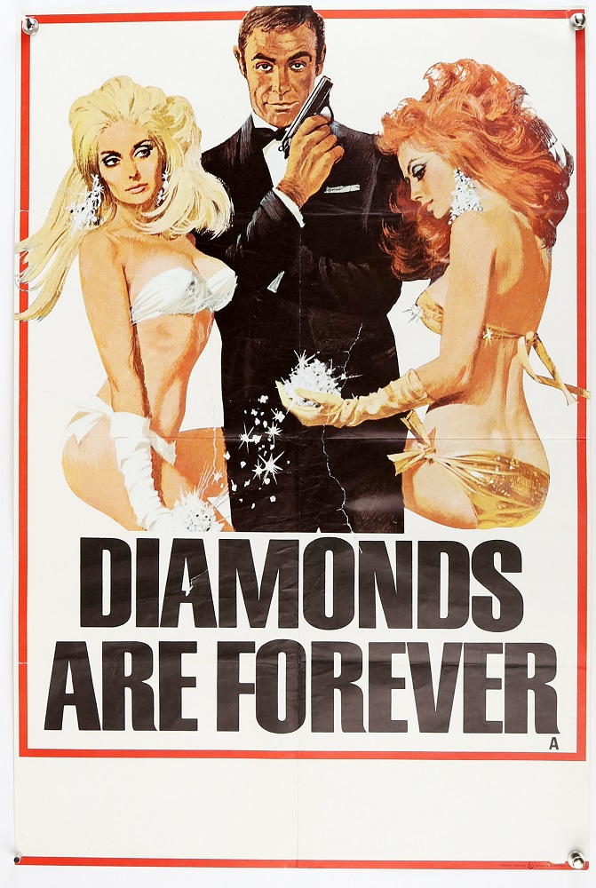 Vnitage poster for James Bond film Diamonds are Forever