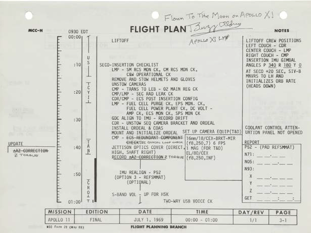 A page from Buzz Aldrin's Mission Rules documentation