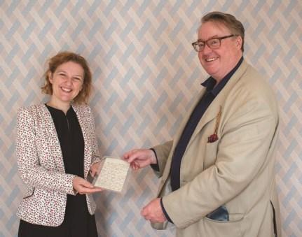 Dr Mary Guyatt, Director of Jane Austen's House Museum and Robert Harding of the dealer Maggs Bros with the Jane Austen letter