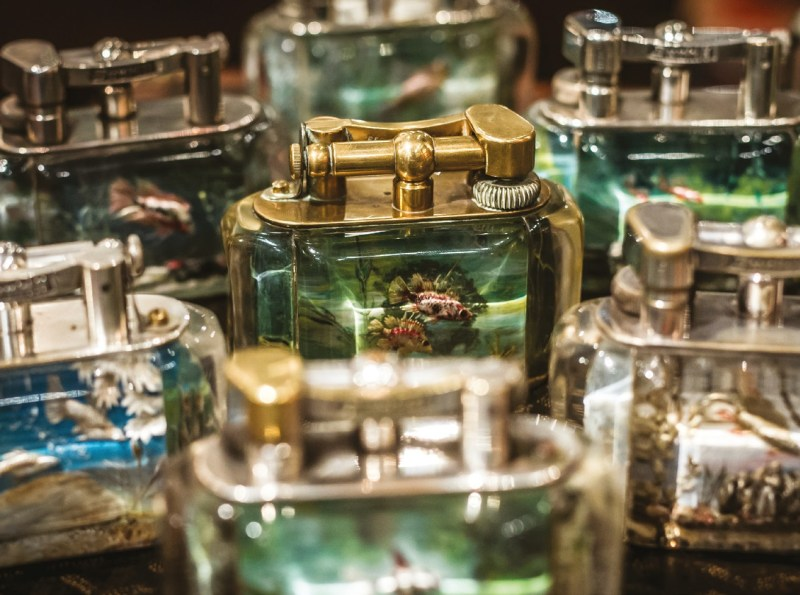 Timothy's collection of Dunhill aquarium lighters