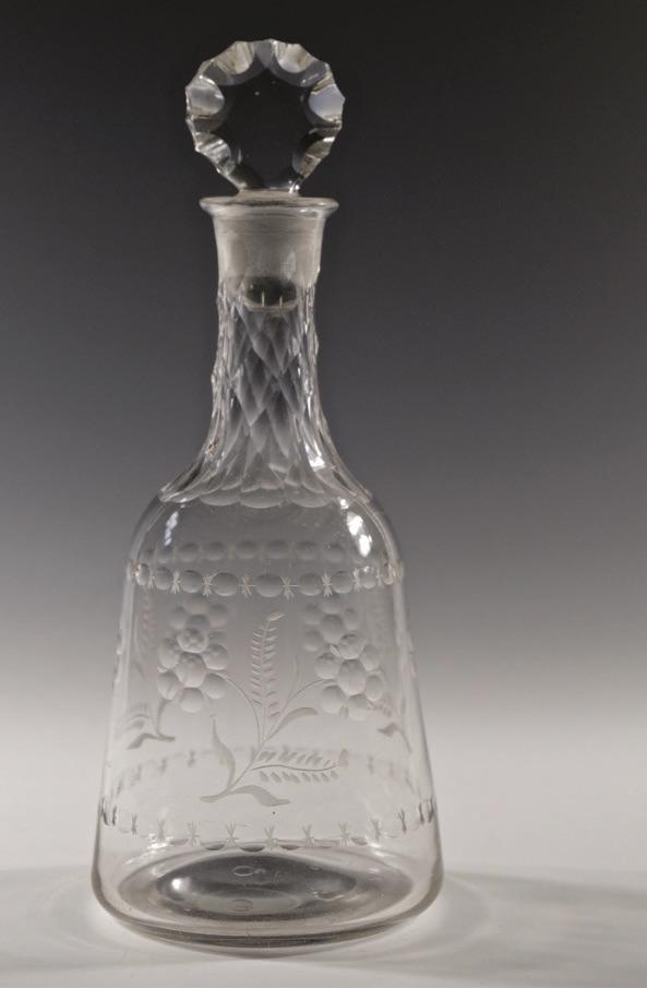 Facet cut antique glass decanter