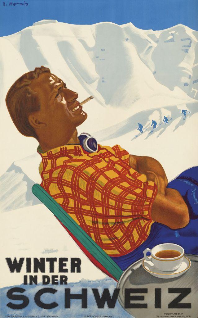 Erich Hermes vintage ski poster