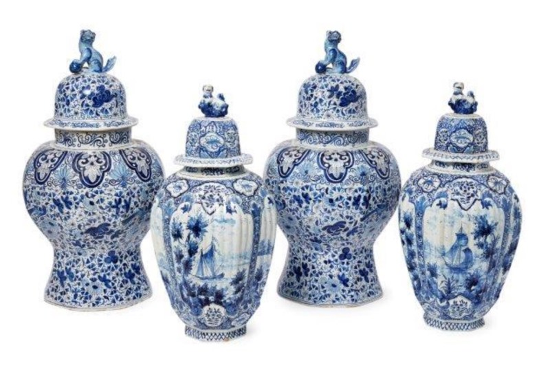 19th century Dutch Delft octagonal vases