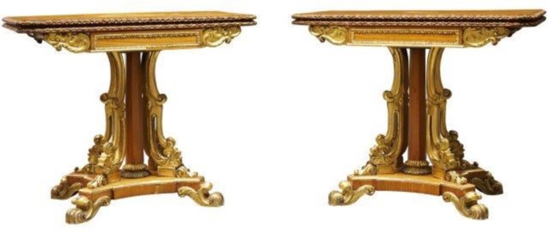 George IV satinwood and parcel gilt card tables