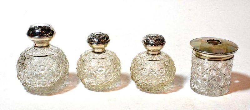 Antique glass scent bottles