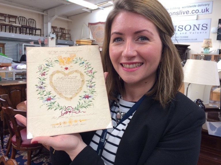 Hansons valuer Isabel Murtough with the antique Valentine