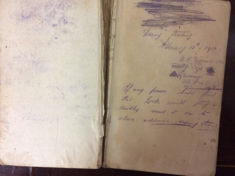The First World War diary for sale at Hansons