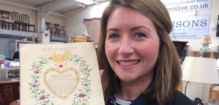 Hansons Hansons valuer Isabel Murtough with the antique Valentine