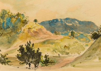 Eugène Delacroix (1798 - 1863), A View of Eaux-Bonnes in the Pyrénées (detail), Watercolour over an underdrawing in pencil on paper, backed, Stephen Ongpin Fine Art