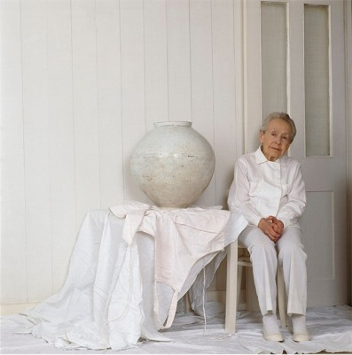 Dame Lucie Rie in her pottery studio