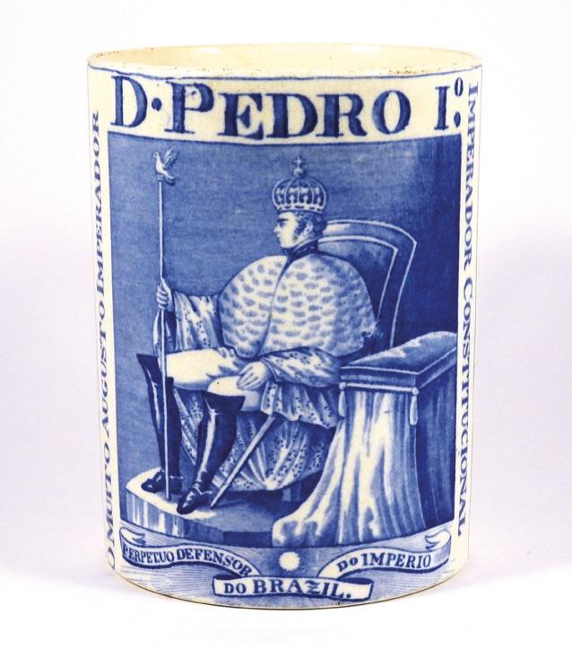 A Spode earthenware coronation mug for Dom Pedro the first Emperor of Brazil