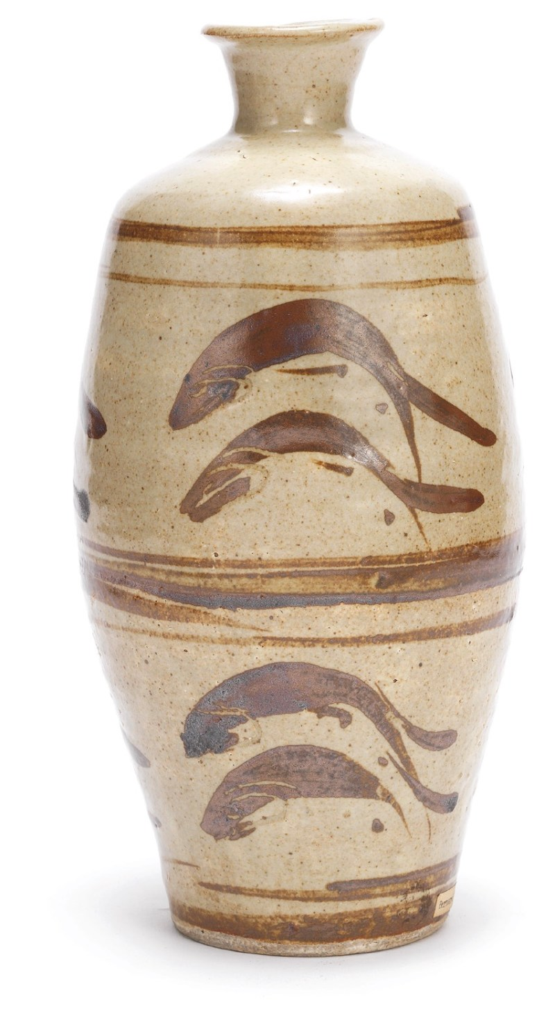 Leach Pottery, Leaping Salmon vase