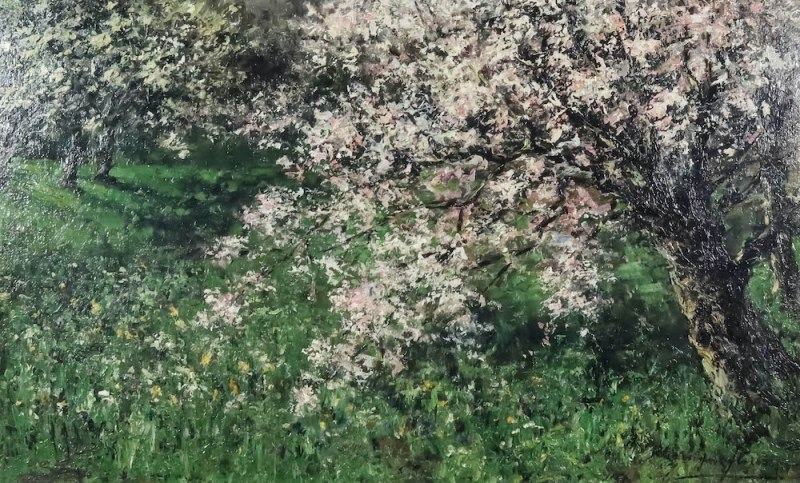 oil on board of apple blossom in an orchard by Olga Wisinger-Florian