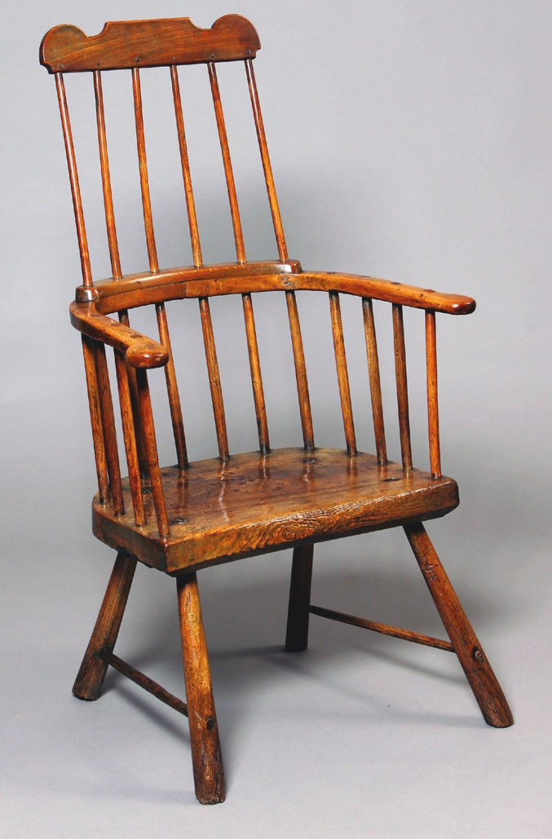 A late 18th-century Welsh 'comb-back' stick chair made from a mixture of different woods