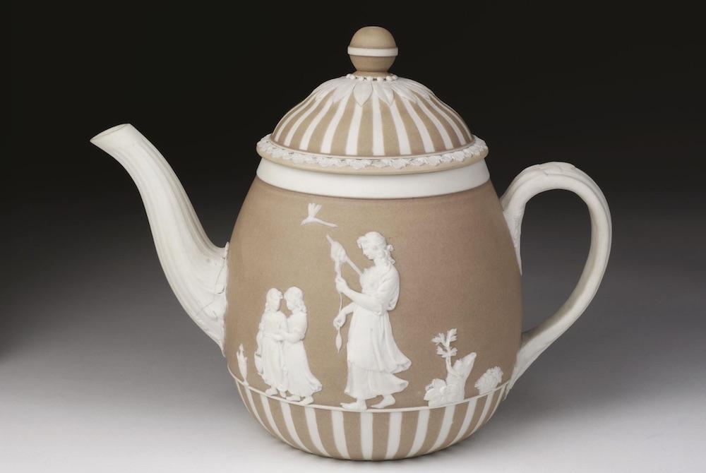 A jasperware teapot