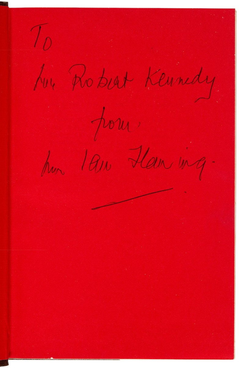 The Spy Who Loved Me, 1962, first edition, presentation copy to Robert Kennedy