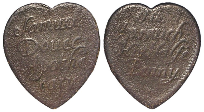 17th-century halfpenny heart-shaped token