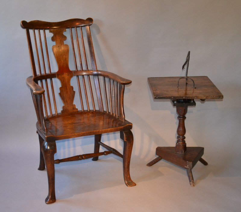 17th-century primitive oak table and a late-Georgian elm comb back chair