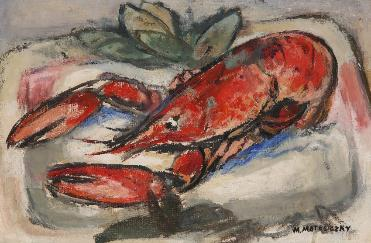 Oil painting of a lobster by Marie-Louise von Motesiczky