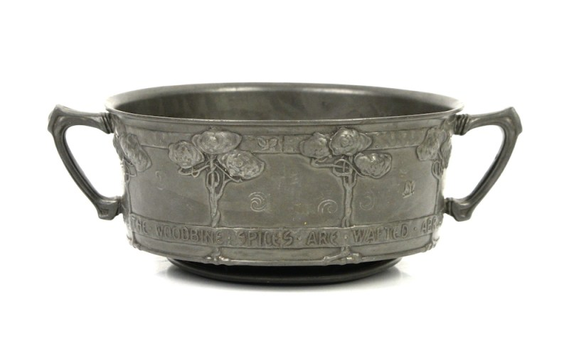 Tudric pewter twin-handled bowl by David Veasey for Liberty and Co.