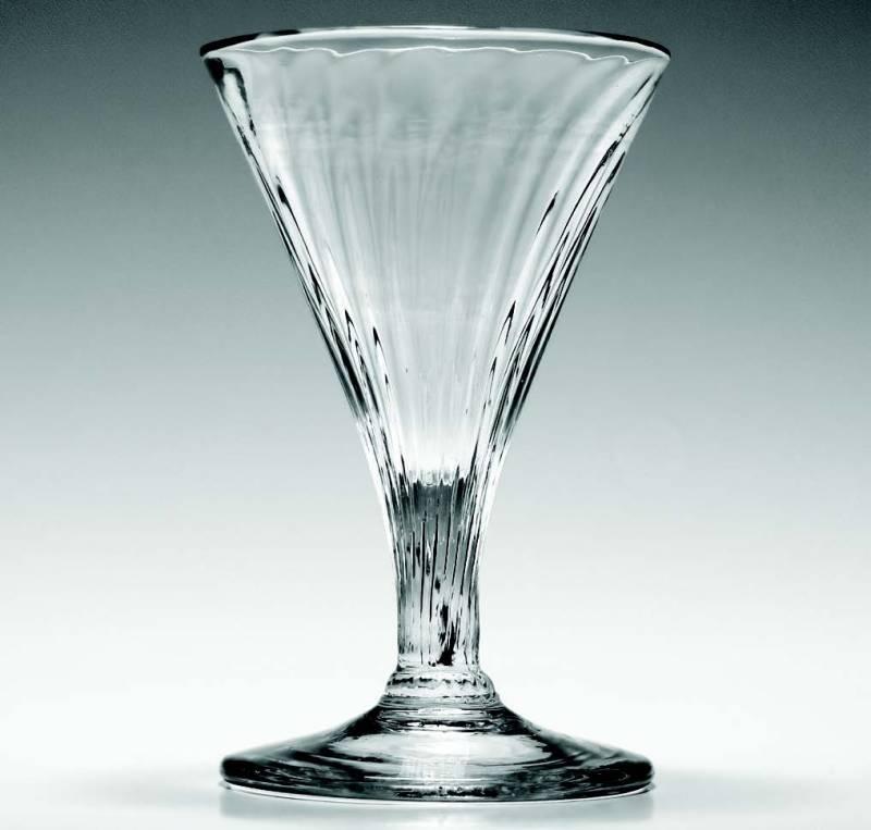 A rare Georgianrib-moulded gin glass, c.1770