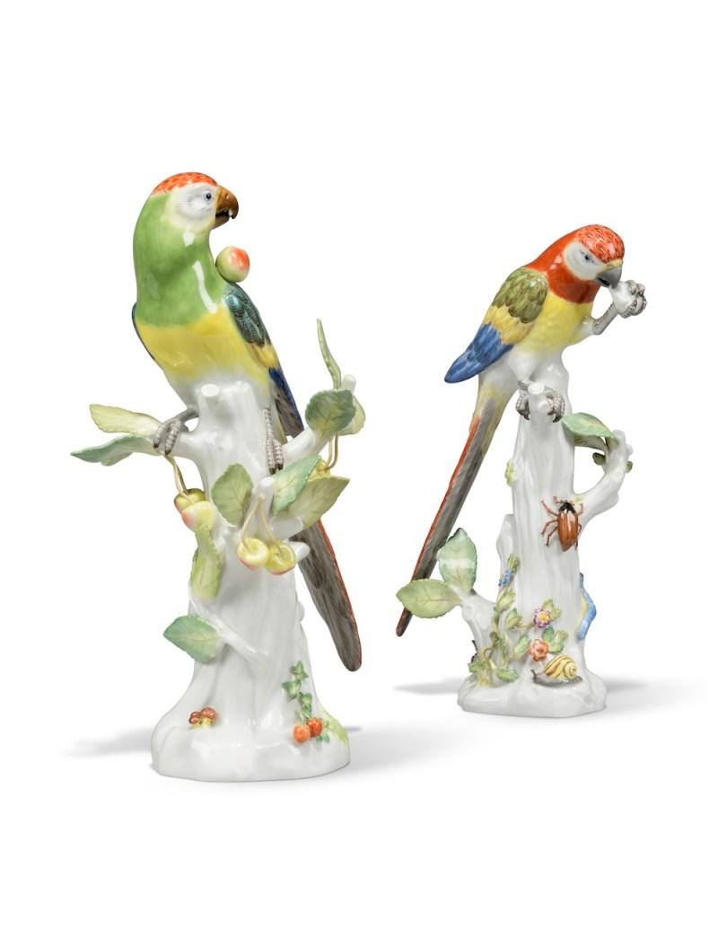 Two Meissen porcelain parrots (estimate £4,000-6,000)