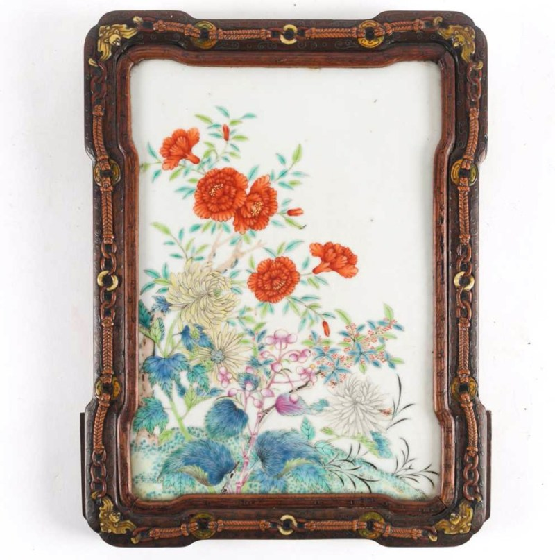 A Chinese porcelain panel, Qing, 19th century. Estimate: £300 - £500