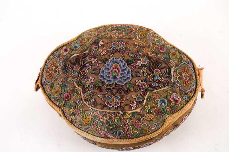 Straits China beadwork wedding footstool