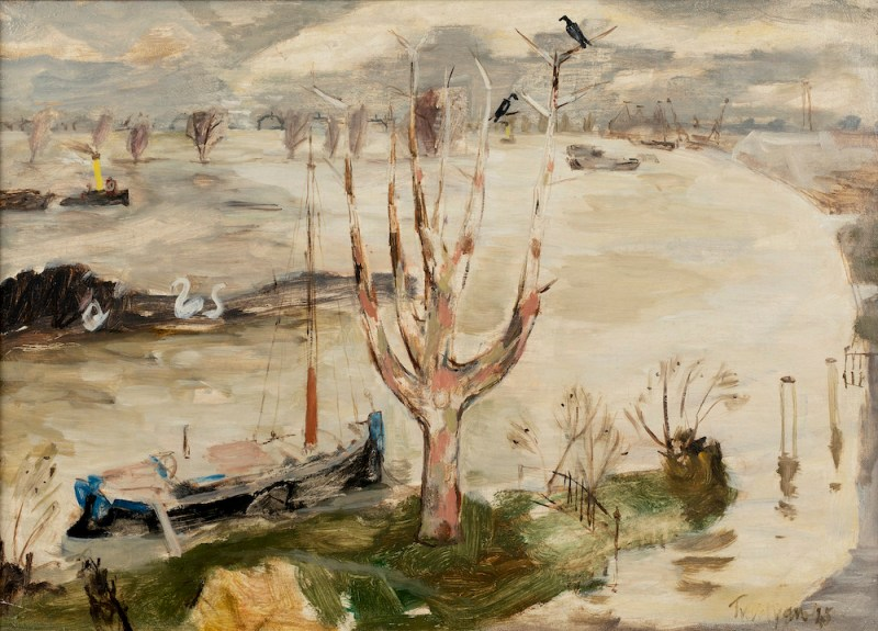 Julian Trevelyan (British 1910-1988) - The River Thames Flooded at Chiswick, 1945