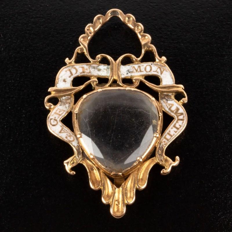 19th century rock crystal sweetheart locket pendant