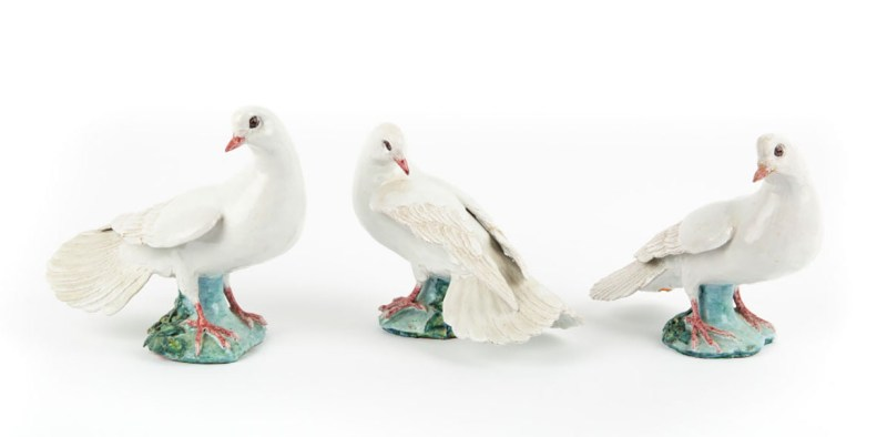 hree pottery doves by Lady Anne Gordon