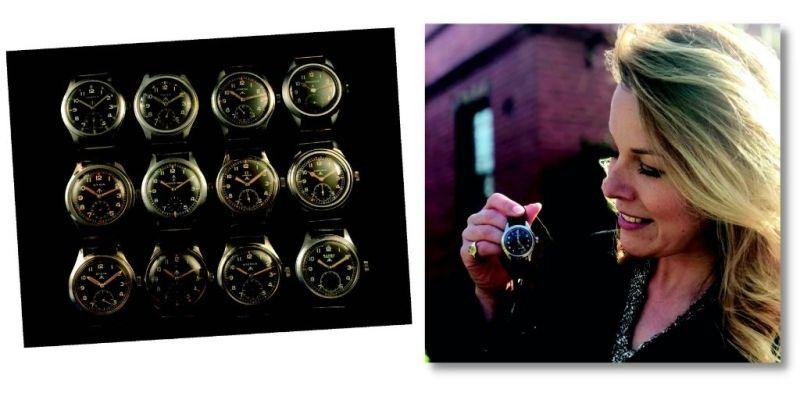Christina Trevanion with the Dirty Dozen military watches
