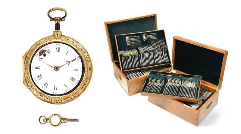 Daniel Quare watch and Silver cutlery set