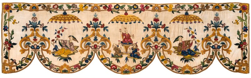 Cora Ginsburg_Chinoiserie bed valance with point de Beauvais embroidery_France_ca. 1710-1725