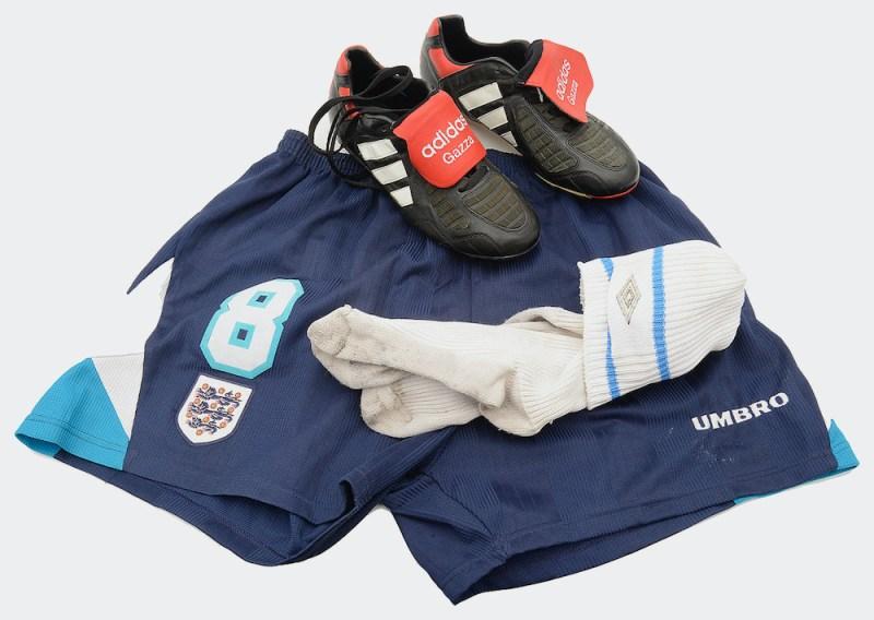 Paul Gascoigne's Euro 96 shorts, socks and football boots