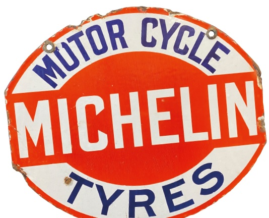 A Michelin motor cycle tyres enamel advertising sign