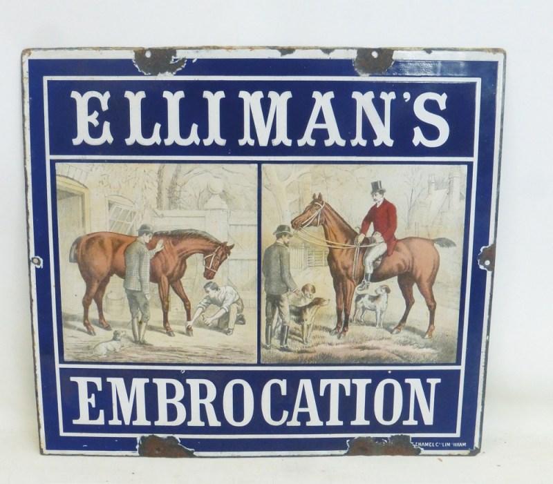 An enamel advertising sign for Elliman's Embrocation