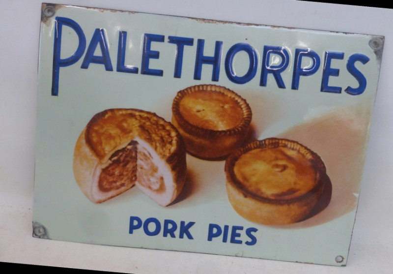 A domestic enamel advertising sign for Palethorpes Pork Pies