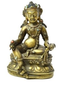 15th/16th century Tibetan cast brass figure of Kubera