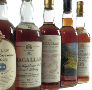 A collection of whisky