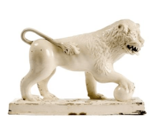 An antique pearlware lion