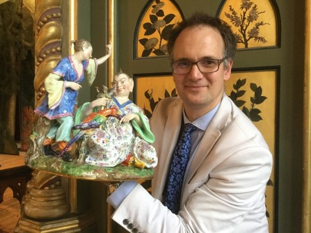 Charles Hanson with Meissen pagoda group which sold for £3,100