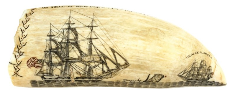 A 20cm (8in) scrimshaw whale's tooth by Edward Burdett set a world record in 2017 when it sold for $456,000 (£340,000)