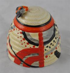 Clarice Cliff for Newport Pottery Red Carpet beehive honey pot